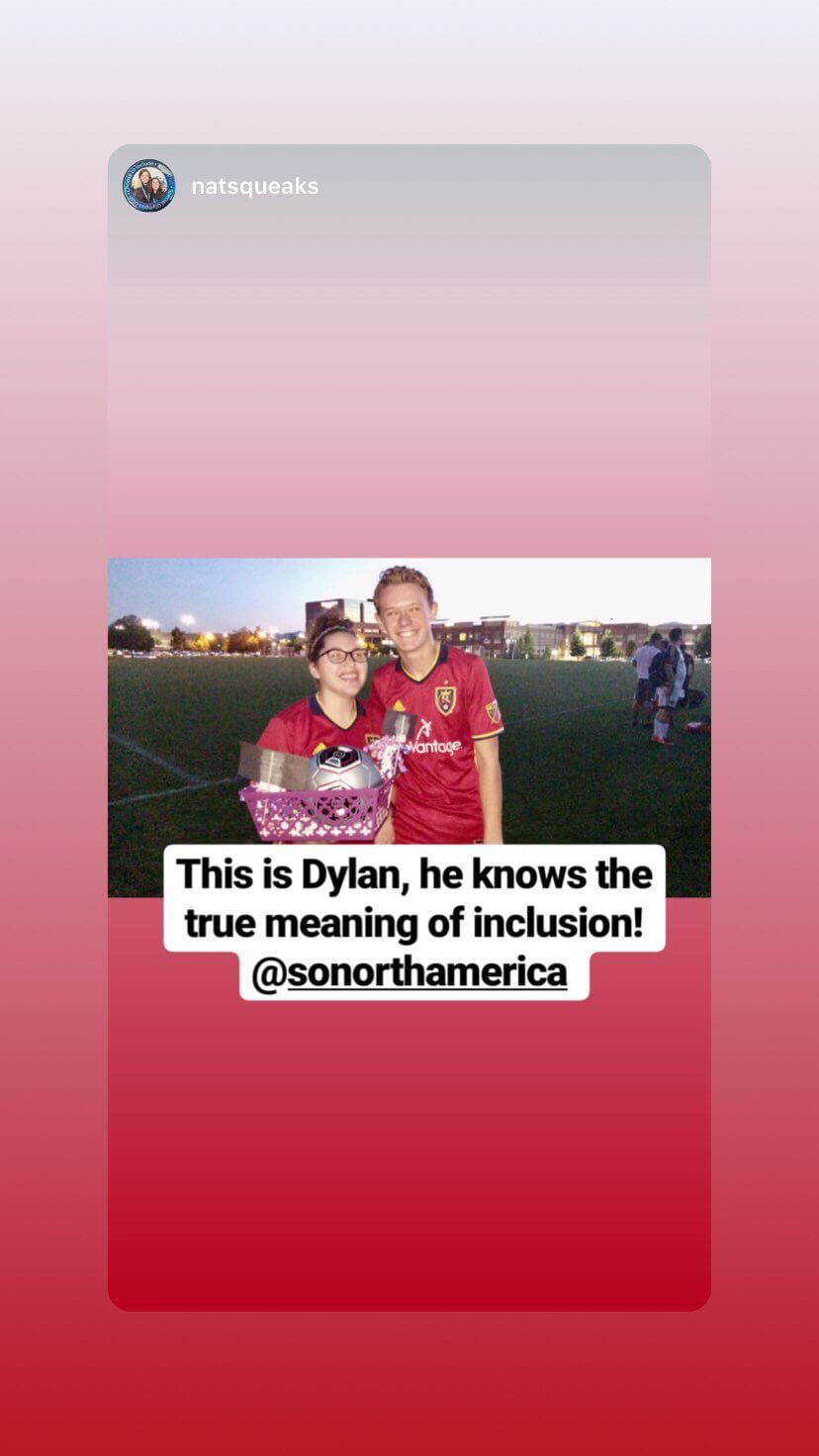 Picture of Natalie from Utah and her friend Dylan and a soccer game.