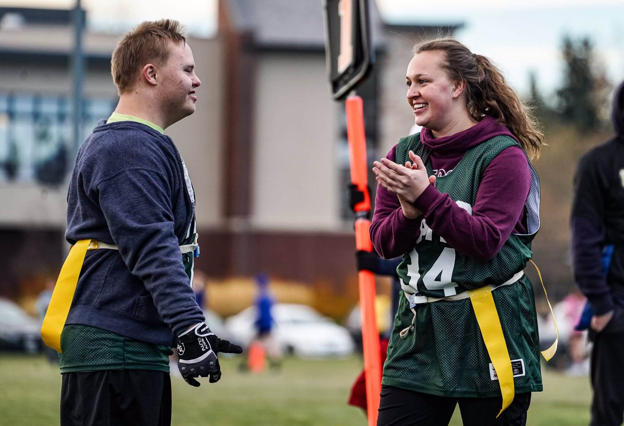 Students from Colorado State University participating in Unified Flag Football.