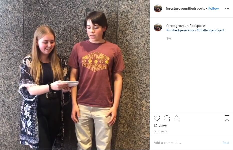 A screenshot of the video posted by U.S. Youth Ambassadors MaryAnne and Gabriel.