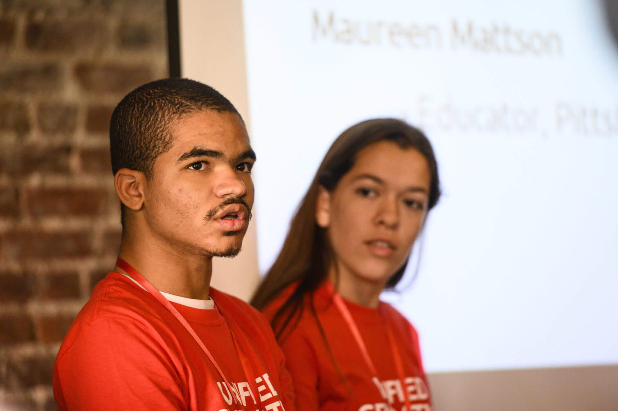 U.S. Youth Ambassadors Troy and Citlali lead a discussion.