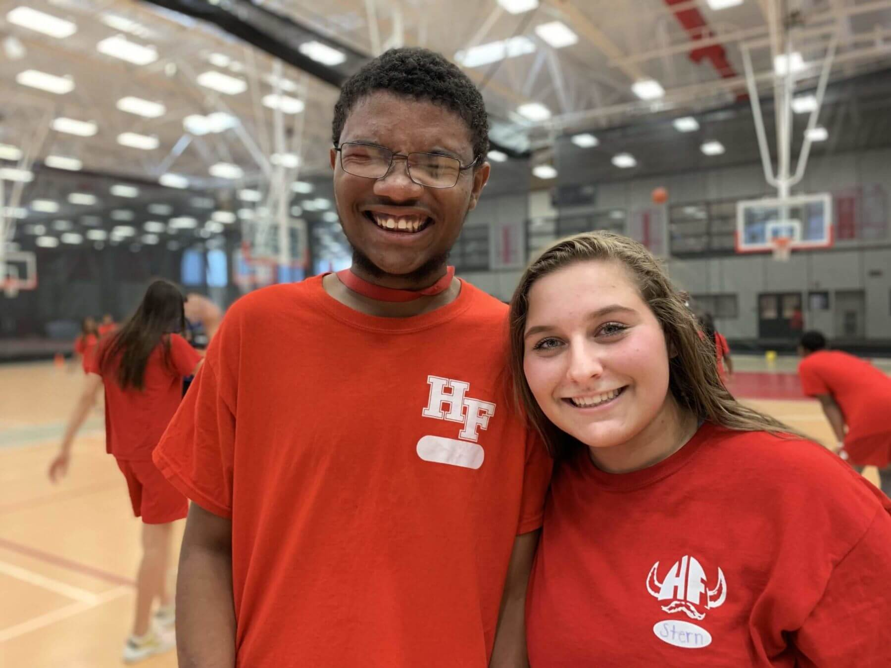 Students Donzel and Alyson posing for a picture during Unified Physical Education class.