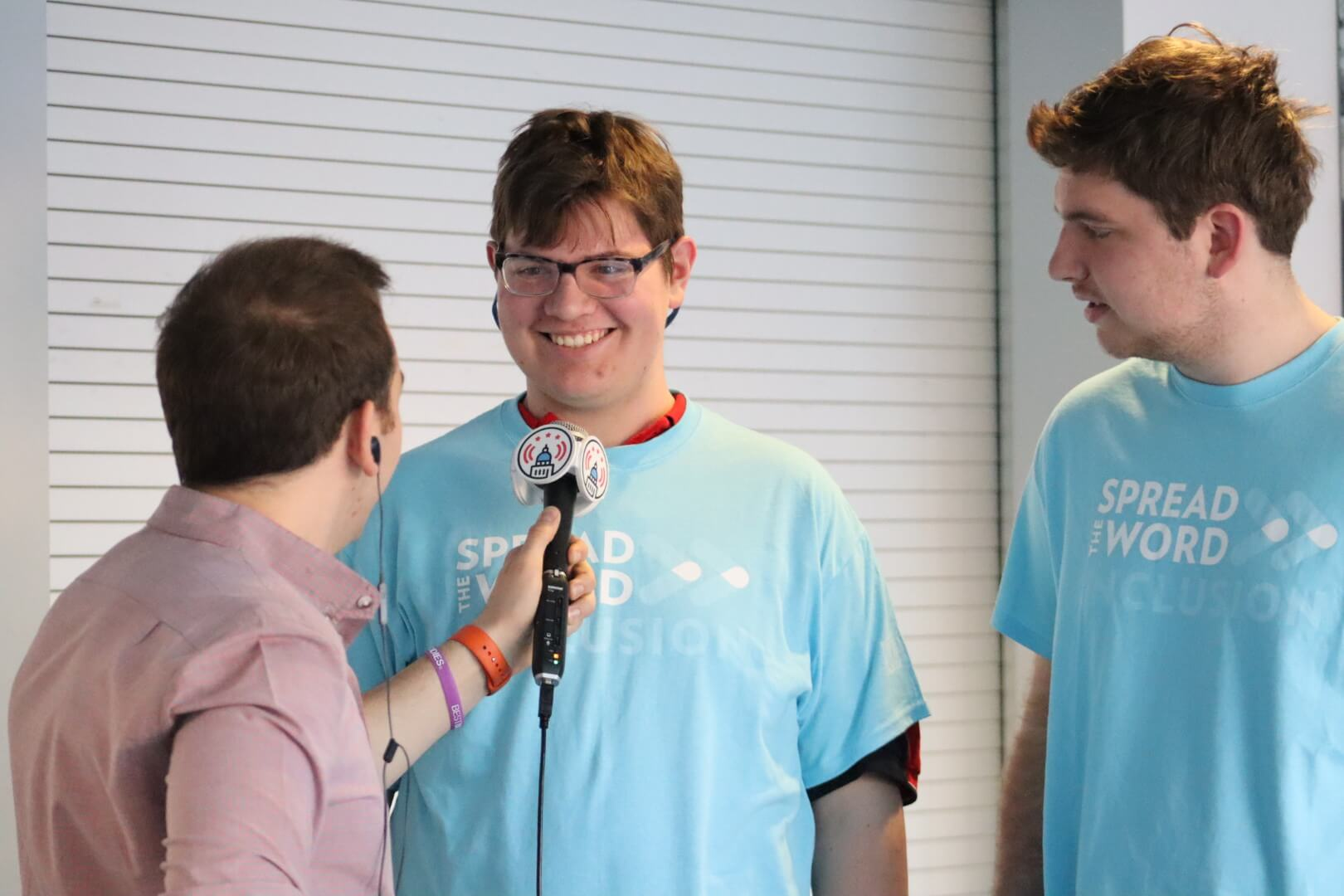 U.S. Youth Ambassadors Alex and Will getting interviewed on Spread the Word Day.