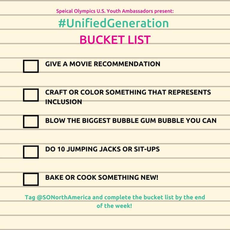 Image of the Unified Generation Bucket List Challenge from the week of March 31st.