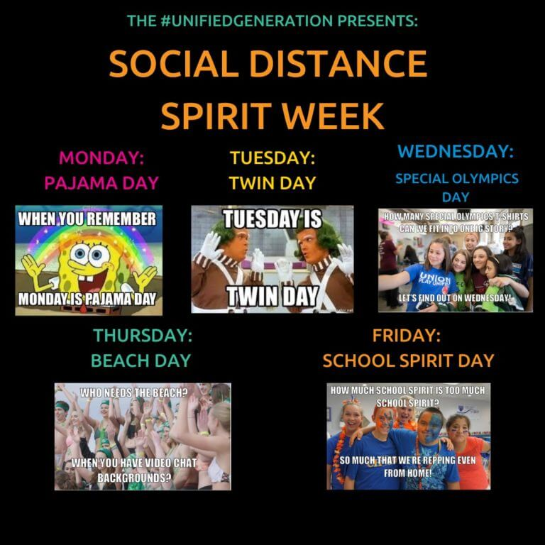 Image describing the different days of Social Media Spirit Week
