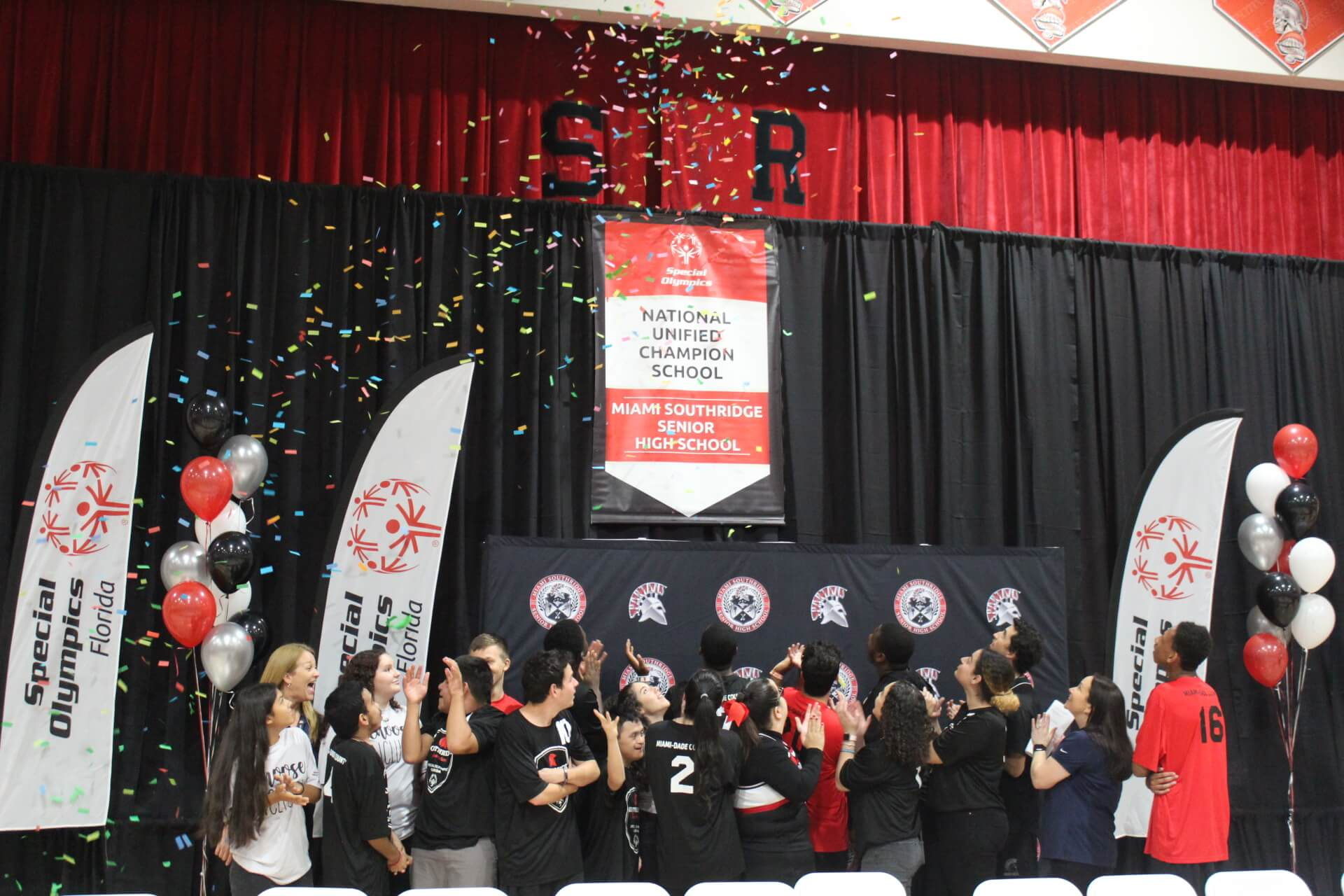 Miami Southridge Senior High School receiving their national banner.