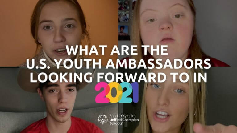 Screenshot of Courtney, Joy, Jackson and Evie. On top it says, What are the U.S. Youth Ambassadors looking forward to in 2021?