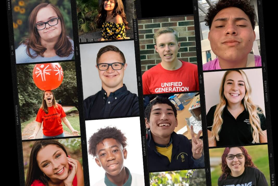 A collage image featuring several of the Special Olympics U.S. Youth Ambassadors